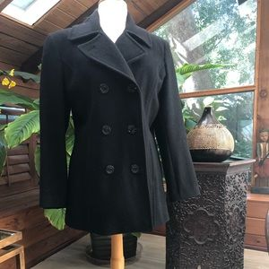 Jackets & Blazers - Black Wool Peacoat